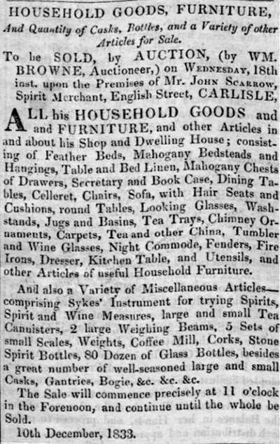 John Scarrow sells Spirit Merchant business in Carlisle 1833